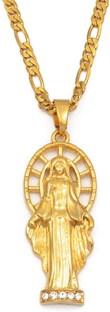 Virgen María Colgante Collares W/Piedra Mujeres Hombres Oro Color Nuestra señora joyería al por Mayor Colar Cruz Cadenas de religión