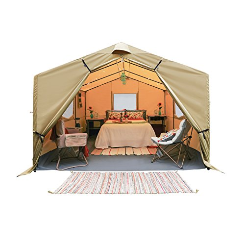 Spacious and Durable Ozark Trail 12×10 Wall Tent With Strong Wheel Carry Bag,Sleeps 6,Can Withstand Wind and Snow,Perfect for Family Camping/Hunting,Disaster Relief and More,Brown,Khaki, Cream