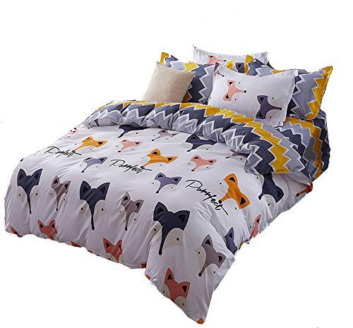 Mengersi Fox Animal Duvet Cover Set 2 Pillowcases Kids Bedding Set (Fox, King) by Mengersi