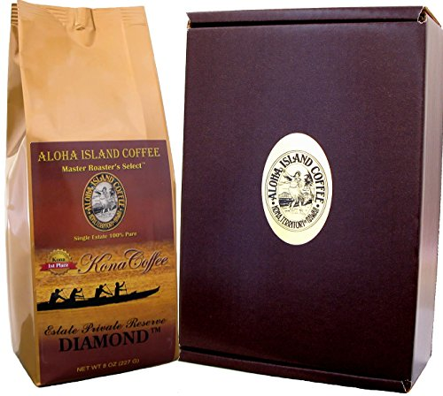 Gift Boxed 100% Kona Coffee, Private Reserve Diamond Pure Kona , Best Coffee Gift for Coffee Lovers, for Christmas, Birthday, Anniversary, All Occasions, One 8 Oz Whole Bean in Gift Box