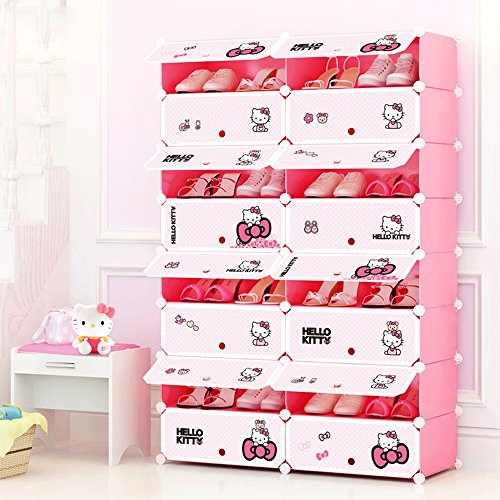 Lilongjiao Plastic modular self-standing storage manager portable shoe cabinet bookcase with door pink (Size : 2 columns8 ()