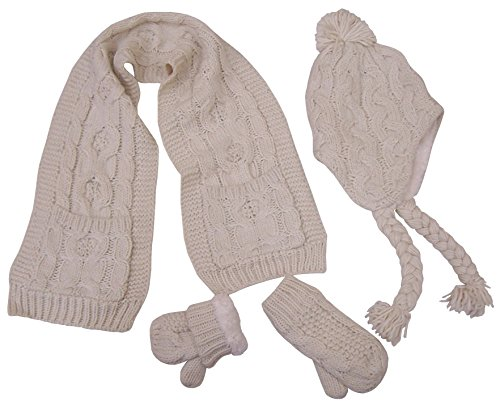 N'Ice Caps Big And Little Girls Cable Knit 3PC Set With Sherpa Lining (2-4yrs, Toddler - Winter White Cream)