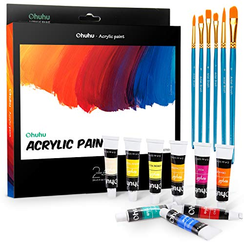 Acrylic Paint Set, Ohuhu 24 Colors Acrylic Painting Tubes with 6 Paints Brushes, Artist's Acrylic Painting Kit for Stone, Canvas, Wood, Clay, Fabric, Nail Art, Ceramic, Crafts, 12ml x 24 Tubes