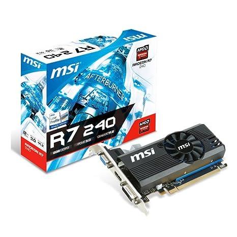 MSI R7 240 LPV1 - Tarjeta gráfica (Radeon R7 240, 2 GB DDR3, HDMI ...