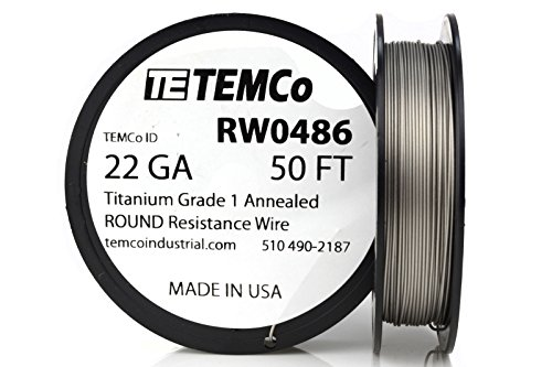 TEMCo Titanium Wire 22 Gauge 50 FT Surgical Grade 1 Resistance AWG ga (Best Titanium Wire For Vaping)