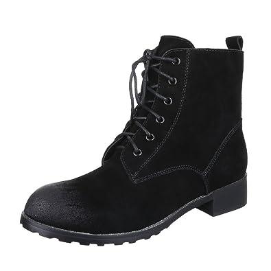 Schnürboots Damen Schuhe Combat Boots Blockabsatz Leicht