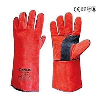 Juego 3 pares Guantes de trabajo forrados Anticalorico de piel serraje para soldar rojo 10: Amazon.es: Industria, empresas y ciencia