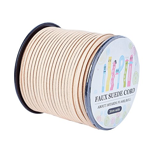 Pandahall 98Yard 90m/roll 3x1.4mm Faux Suede Cord String Leather Lace Beading Thread Suede Lace Double Sided with Roll Spool 295feet ()