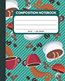 Composition Notebook: Coffee Beans Roasting Green Cover 8x10' 120 Pages Wide Ruled Paper , Inspirational Journal & Doodle Diary , School Book Supplies