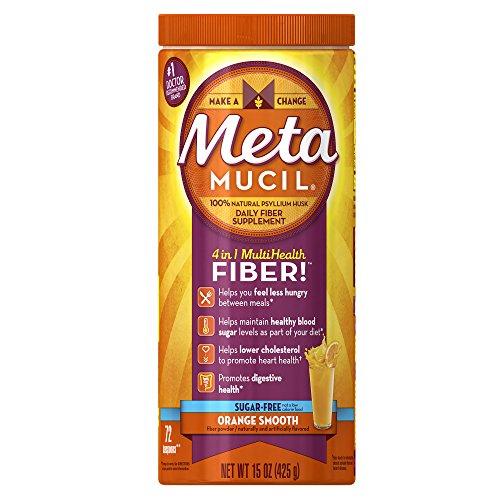 Metamucil Daily Fiber Supplement, 100% Natural Psyllium Husk, Orange Smooth Sugar Free Fiber Powder, 72 Doses (Sugar Free Natural Fiber Supplements)