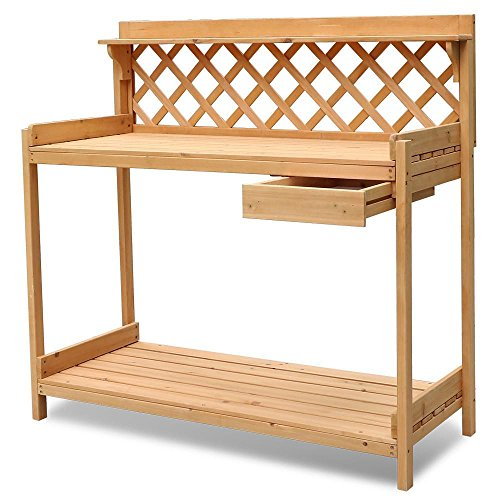 go2buy Potting Bench Garden Greenhouse Work Table Station Solid Natural Finish Wood (Bench Greenhouse)