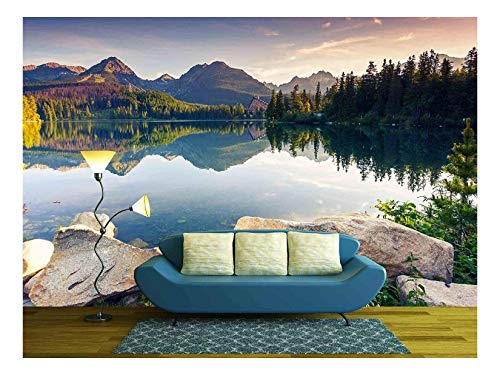 Beauty Wallpaper - wall26 - Mountain Lake in National Park High Tatra Strbske Pleso, Slovakia, Europe Beauty World - Removable Wall Mural | Self-Adhesive Large Wallpaper - 66x96 inches