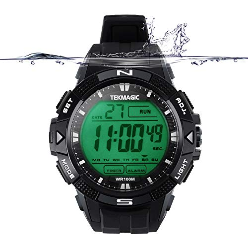 TEKMAGIC 10 ATM Digital Submersible Diving Watch 100m Water Resistant Swimming Sport Wristwatch Luminous LCD Screen with Stopwatch Alarm (Alarm Chronograph 100m Mens Watch)