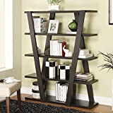 Contemporary Leaning Ladder Bookcase with Five Shelves and Cascading Design, Unique Look to Your Modern Decor, Adding Useful Storage, Cappuccino Finish, Bedroom, Living Room, Home Office, BONUS E-book