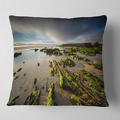 Designart CU14645-18-18 Furnas Virgin Beach Galicia Spain' Seashore Throw Cushion Pillow Cover for Living Room, Sofa, 18 in. x 18 in, Pillow Insert + Cushion Cover Printed on Both Side by Designart