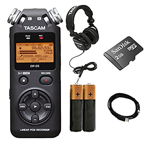 TASCAM DR-05 Portable Digital Recorder. W/ 2 Battery + USB Cable + Tascam TH02 + 2 GB Memory