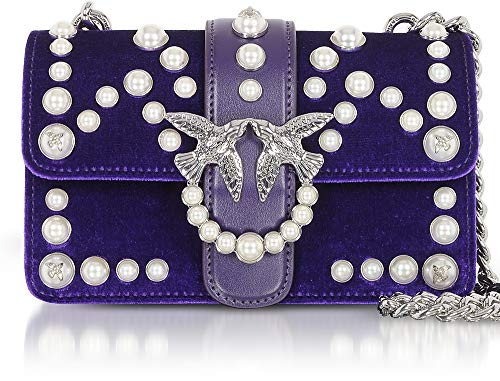 Pensiero Spallaccio Velvet portés Sacs Love Velluto épaule Pinko C Mini Violet Pearls Viola perle qOw6XE