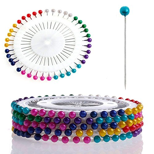 ZJWEI Sewing Pins Head Pins Colorful Round Pearl Decorative 3mm Manmade Pearl Straight Head Pins (480pcs) (Color) from ZJWEI