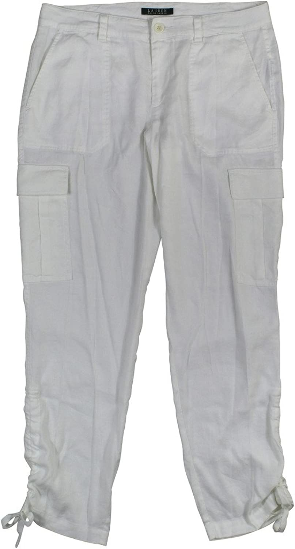 Lauren Ralph Lauren Women's Linen Blend Drawstring Hem Cargo Pants