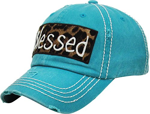 H-212-BLESSED46 Distressed Baseball Cap Vintage Dad Hat - Blessed (Leopard/Teal) by Funky Junque