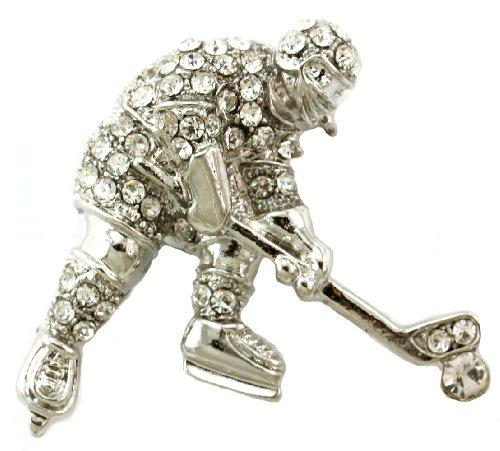 Ice Hockey Puck Winter Sport Pin Brooch Clear Stone Rhinestone Sports Jewelry -