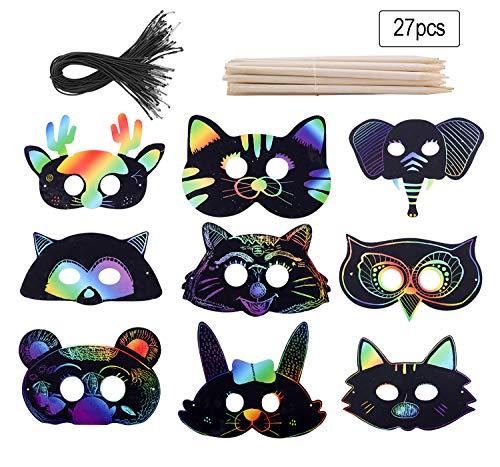 Fashionclubs Scratch Paper Rainbow Scratch Animal Masks 27pcs