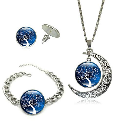 Monowi New Glass Cabochon Tree of Life Time Gem Earrings Bracelet Necklace Jewelry Sets | Model ERRNGS - 18386 | -