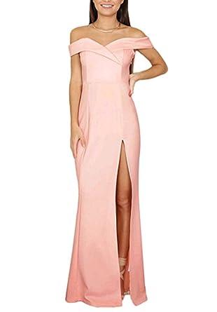 Zaaale Womens V Neck Off Shoulder Side Split Slit Slim Formal Evening Gown Maxi Party Wedding