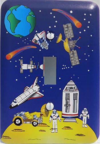Outer Space Light Switch Plate Covers / Outer Space Switch Plate with Moon, Lunar Lander, Astronauts, Stars, Comets, Planet Earth, Space Shuttle, Satellites and Space Ships Switch Plates