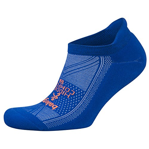 Balega Hidden Comfort Athletic No Show Running Socks for Men and Women with Seamless Toe, (Large) - Neon Blue