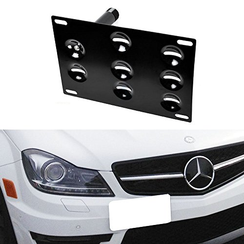 iJDMTOY Euro Style Front Bumper Tow Hole Adapter License Plate Mounting Bracket For Mercedes W204 C-Class W221 S-Class W166 ML-Class R231 SL-Class, etc