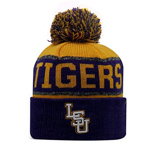 LSU Tigers Cuffed Knit Beanie Stretch Sock Hat Cap