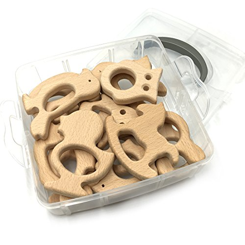 Amyster DIY Nursing Jewelry Combination 15pcs Organic Natural Beech Wooden Animal Baby Teether Toys Set (110)