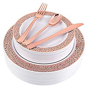 150pcs Rose Gold Plates, Rose Gold Plastic Silverware, Party Plates with Rose Gold Rim, Lace Plastic Plates, Plastic Flatware for Wedding, Enjoylife(Rose Gold 150) (Rose Gold)