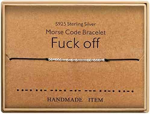 Fuck Off Morse Code Bracelet Sterling Silver Beads on Silk Cord Friendship Bracelet Gift for Her