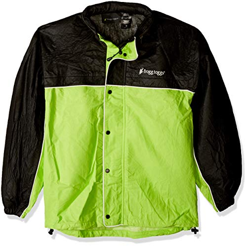Frogg Toggs Unisex-Adult High Visibility Road Toad Rain Jacket (Green/black, Medium)
