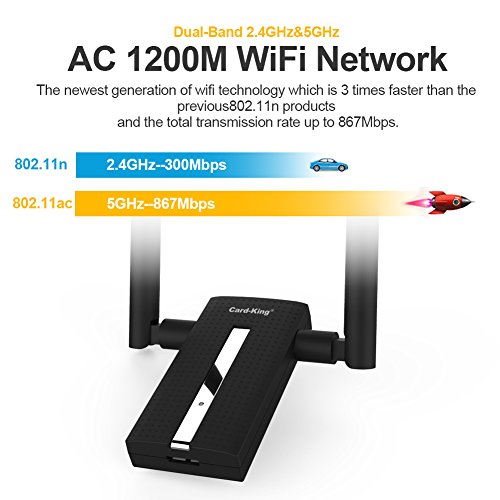 Card King Wifi Adapter AC1200 Usb Wireless Adapter 2.4GHz/ 5GHz Dual Band Network Lan Card with Double High Gain Antenna for Windows 10/8.1/8/7/XP/Mac OS10.6-10.12 by Card-King (Image #2)