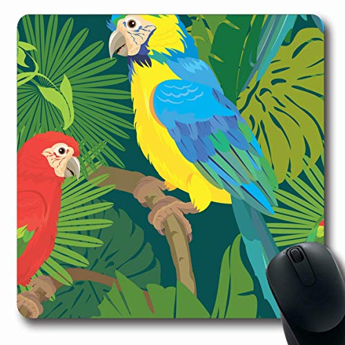 - LifeCO Computer Mousepad Pet Yellow Jungle Palm Trees Leaves Blue Ready Bird Macaw Tropical Ara Ararauna Design to Oblong Shape 7.9 x 9.5 Inches Oblong Gaming Non-Slip Rubber Mouse Pad Mat
