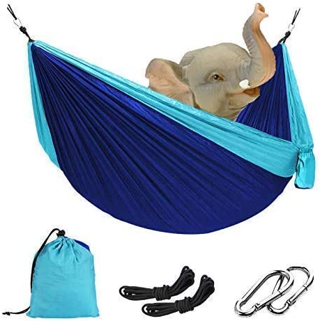 Double Camping Hammock, Ultra-Lightweight Portable Parachute Hammock, Swing Bed 118 x78 for Backpacking, Travel, Camping, Hiking, Yard