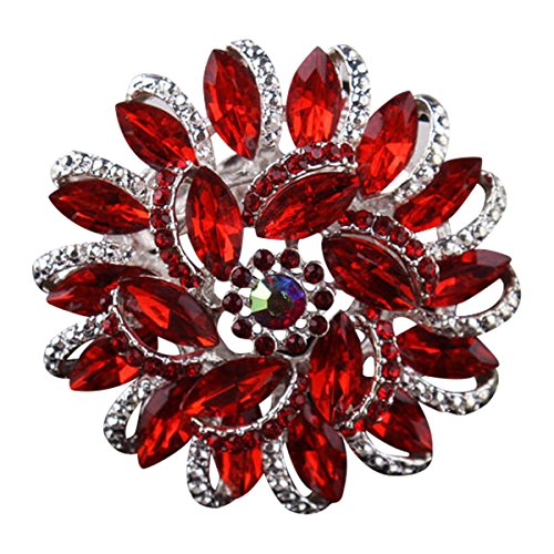 - Ailer Bling Brooch for Women Flower Shape Created Crystal Rhinestone Corsage Brooches Pin for Wedding-Red