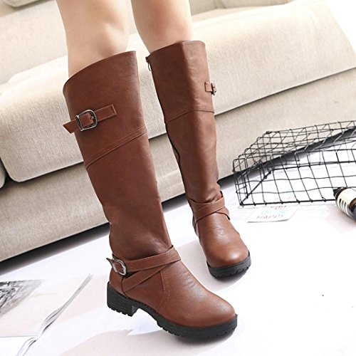 c8647a77949c Fheaven Women Leather Knight Buckle Ladies Faux Boots Side Zip Knee High Flat  Riding Boots (6, Brown)
