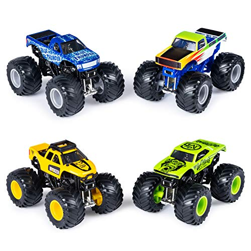 Monster Jam Official Die-Cast 1:64 Scale Double 2 Pack (Blue Thunder, Storm Damage, Bro Dozer, Gas Monkey)