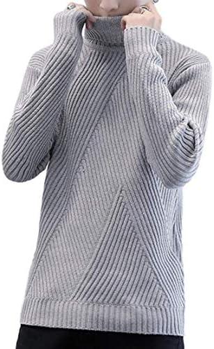 [ラッキーチャーム] 変則リブニット タートルネック カジュアルセーター メンズ 長袖