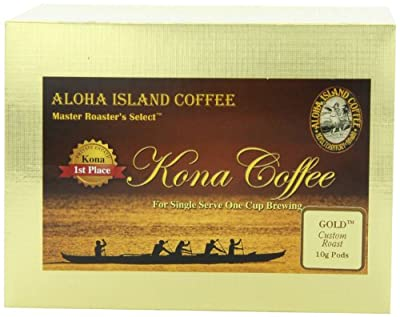Aloha Island Coffee KONA-POD, Kona Magnum Opus Gold, 100% Pure Kona Coffee (10g), 36-Count Coffee Pods