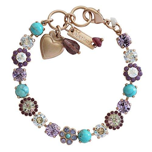 (Mariana St. Lucia Rose Goldtone Petite Floral Flowers Mosaic Crystal Tennis Bracelet, 7.5