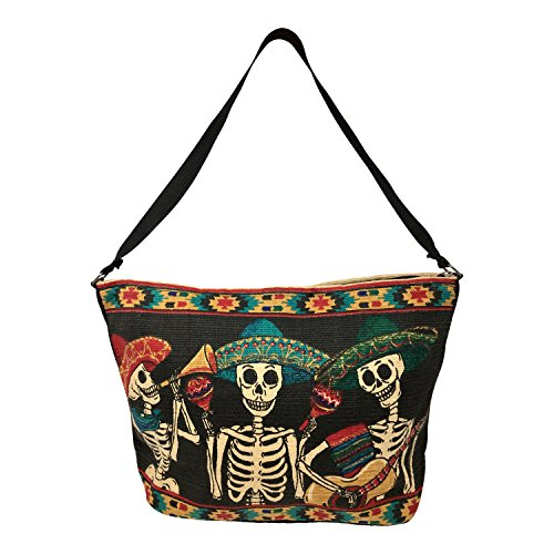 SpiritStar Sugar Skull Purse: Day of the Dead Inspired Daily Travel Bag Made with 100% Cotton ()