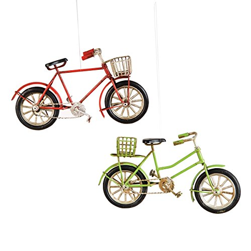 Bicycle Christmas Ornament, Assortment of 2, Red, Green, Vintage Style