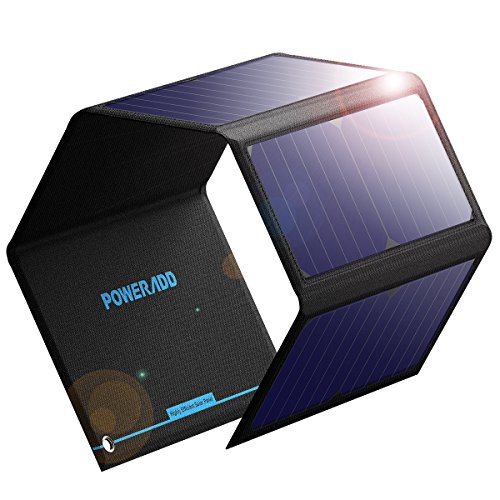 Poweradd Foldable Solar Charger Dual USB 24W Solar Panel Phone Charger for iPhone X/8/8 Plus, iPad Pro/Air 2/mini, Galaxy S9/S8/Edge/Plus,LG, Nexus, NOKIA and Camping Travel