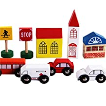 DIY Wooden Toys, Businda Kids Rail Overpass Wooden Block Toys Creative Cartoon City Traffic Scene Assembling Building Block Kits Toys Puzzle Toy up with Toy Cars Educational Toy for Children Gifts