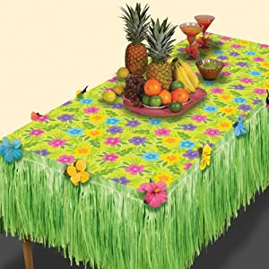 Amscan Summer Flower Transform-a-Table Decorating Kit Hawaiian Beach Luau Decoration (2 Piece), Green, 35 x 9""
